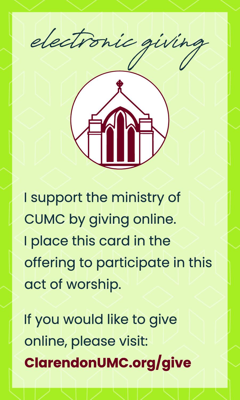 CUMC Online Giving Pew Card