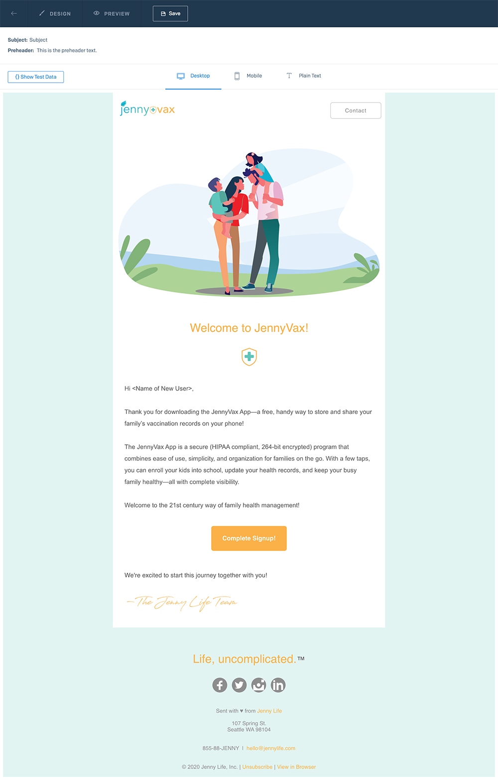 JennyVax Email Template
